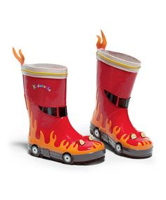OMG! Adorable! Red Firefighter Rain Boot by Kidorable on #zulily today!