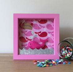SALE Pink Whale 3D Box Frame Picture Gift - Personalised Gift, Wall Art, Bedroom Decor, Girls Gift, Sealife Picture