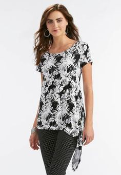 Cato Fashions Printed Exaggerated Asymmetrical Hem Top #CatoFashions