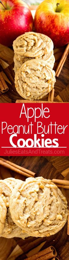 Apple Peanut Butter Cookie ~ Delicious, Soft, Chewy Cookie Recipe Loaded with Peanut Butter, Cinnamon and Fresh Apples!