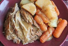 Crock Pot Pork Roast with Vegetables and Gravy from Jamie Cooks It Up!