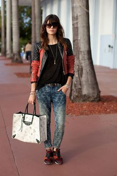 Love, love, love this look!...Miami Art Basel 2012 Street Style - This art lover embraces her edgy side.
