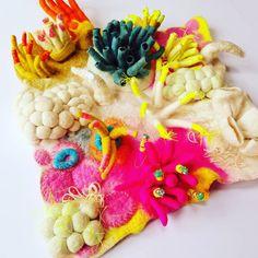 Tamzen lundy designs,  felted piece Coral Bleaching, Textile Artists, Felt, Textiles, Design, Design Comics, Cloths, Fabrics
