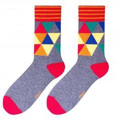 Pánske sivé ponožky s farebnými trojuholníkmi Socks, Sock, Stockings, Ankle Socks, Hosiery