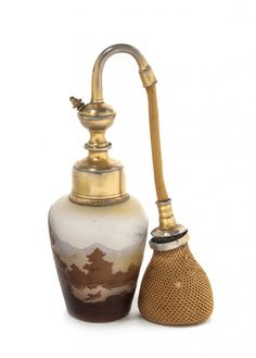 A Galle Cameo Glass Perfume with Atomizer, Height overa