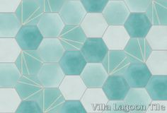 """CAN CUSTOMIZE COLORS """"Crow's Feet Blue"""" hex and Mixed Aqua Hex cement tile, from Villa Lagoon Tile."""