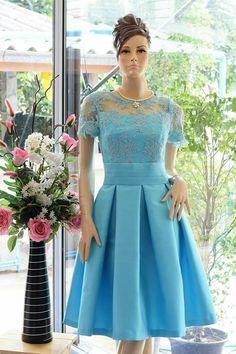Dress Brokat, Thai Dress, Light Blue Dresses, Chiffon Evening Dresses, Pretty Lights, Fashion Sketches, Traditional Dresses, Dressmaking, Uni