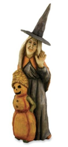 """Bethany Lowe HALLOWEEN Hand-Carved 13"""" WINNIE WITCH And BOO PUMPKIN ~ A.Costanza #FolkArt"""