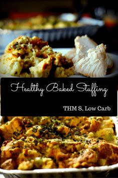 A Healthy Baked Stuffing to serve with your Trim and Healthy Thanksgiving. (Low Carb, THM S)