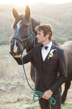 Groom with a Black Three Piece Suit and a Horse | Carlie Statsky Photography on @heyweddinglady via @aislesociety