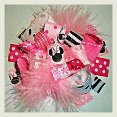 Hair bow, Hair bows, Hairbow-Disney Funky Crazy About Minnie Mouse Boutique Hair Bow-Funky Fun-Over The Top Deluxe Mickey Mouse Hair Bow on Etsy, $9.99