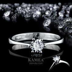 Zásnubný prsteň Diamond Collection 2015, z bieleho 14 karátového lesklého zlata, v ktorom je vsadený 1 briliant o priemere 4,5mm. Možnosť vyhotovenia v žltom aj v červenom prevedení a v každej veľkosti. Wedding Rings, Engagement Rings, Jewelry, Enagement Rings, Jewlery, Jewerly, Schmuck, Jewels, Jewelery