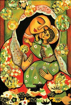 Virgin Mary art  Mary and Jesus child  Madonna with by EvitaWorks