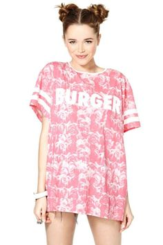 Lazy Oaf Rosie O'Burger Tee. photographic/greyscale. sports luxe.