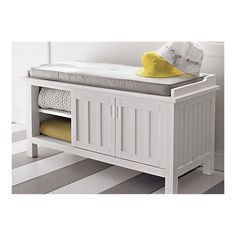 Brighton White Storage Bench with Natural Cushion in Bedroom Benches | Crate and Barrel