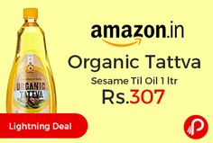 Amazon #LightningDeal is offering 25% off on Organic Tattva Sesame Til Oil 1 ltr at Rs.307 Only. Rich in minerals like copper, manganese, calcium and magnesium.