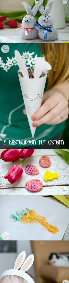5 schnelle und einfache Last Minute Bastel Ideen für Ostern. Basteln mit Kind / Kleinkind, Knete, Fimo, Hasenohren, Fußabdruck, Karotte, Ostereier, vegan, Hasentüte, Sockenhase, Osterhase