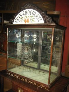 J S Fry & Sons Ltd., Chocolate Display Case Cabinet with Enameled Sign Topper