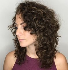 60 Styles and Cuts for Naturally Curly Hair - Mid-Length Layered Cut for Curly Hair - Mid Length Curly Hairstyles, Haircuts For Curly Hair, Curly Hair Cuts, Short Curly Hair, Curly Hair Styles, Natural Hair Styles, Easy Hairstyles, Hairstyles 2016, Formal Hairstyles