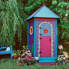 Landscaping And Outdoor Building , Garden Shed Doors : Colorful Painted Garden Shed Doors