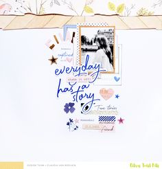 "Citrus Twist Kits: ""3 to Inspire"" with Claudia Van Rooijen Here are the 3 prompts for this week: 1. Use a black and white photo 2. Get creative with the Pinkfresh Studio Indigo Hills Ephemera 3. Use at least 2 strips of patterned paper with torn edges"
