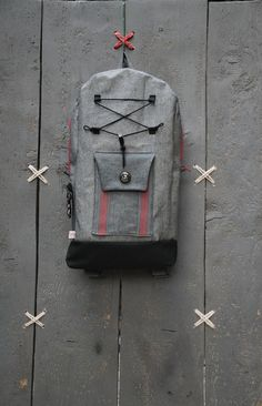 "Denim rucksack for men with back pocket for easy access and large inside pocket for tablet, by ""Eating The Goober"""