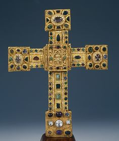Hezilo Cross, before 1079, German (Hildesheim).  Gold, copper, pearls, and gems; wood core covered with silk.  This artwork is part of Medieval Treasures from Hildesheim at the Met.