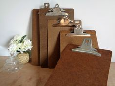 Vintage Brown Wooden Clipboards - Legal and Letter Size Office Writing Memo Board - Back To School