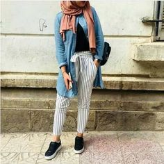 Striped pants and ruffle blouses hijab outfits Just Trendy Girls Modest Fashion Hijab, Hijab Chic, Muslim Fashion, Hijab Outfit, Mode Outfits, Fashion Outfits, Women's Fashion, Hijab Mode Inspiration, Collage Outfits