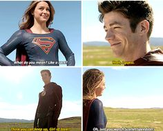 """""""What do you mean? Like a race?"""" - Kara and Barry #Supergirl #SuperFlash"""