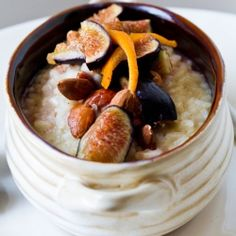 Breakfast Risotto with Almond Milk, Poached Figs and Citrus. Inspired by a Joe Bastianich recipe.