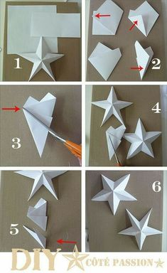 Côté Passion Star with a Square: DIY paper star, origami Diy Christmas Star, Christmas Ornaments, Christmas Decorations With Paper, Christmas Origami, Ramadan Decorations, Paper Ornaments, Christmas Paper Crafts, Grinch Christmas, Handmade Christmas