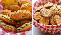 Křupavé chipsy z cukety   NejRecept.cz Zucchini, Salmon Burgers, Chicken Wings, Pickles, Potato Salad, Ale, Recipies, Food And Drink, Menu