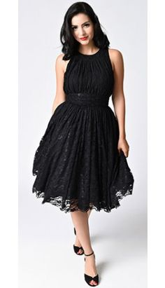 Preorder -  Unique Vintage 1940s Black Lace Sleeveless Roosevelt Swing Dress