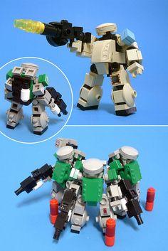 Mechs built from Legos For the game; Mobile Frame Zero.  The ST-07B Chub: Designed by: Soren.     See breakdown here: http://nobsjustabs.wordpress.com/instructions/mecha-frames/the-st-07b-chub/