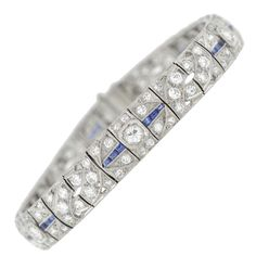 Art Deco 5 Carats Diamond Sapphire Line Bracelet | From a unique collection of vintage link bracelets at https://www.1stdibs.com/jewelry/bracelets/link-bracelets/
