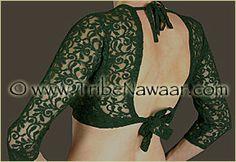 Tribe Nawaar Dark Green  Lace Choli Top for Tribal Belly Dance