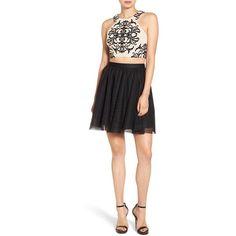 Women's Blondie Nites Two-Piece Dress ($178) ❤ liked on Polyvore featuring dresses, blondie nites, crop dress, blondie nites dresses, two piece dresses and lacy dress