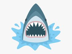 Illustration of Shark with open mouth. Shark isolation on a white background. Shark Face with teeth and jaw. vector art, clipart and stock vectors. Shark Images, Shark Pictures, Save The Sharks, Sharks For Kids, Shark Drawing, Mouth Drawing, Illustrations, Megalodon, Sketchbooks