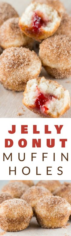 JELLY FILLED donut muffin holes are AMAZING!  These baked donut holes are easy to make and are rolled around in delicious cinnamon sugar! These homemade treats taste just like Dunkin' Donuts Munchkins but are much healthier!