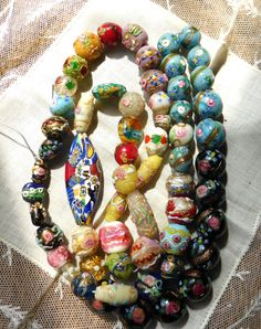 A MEDLY OF BEAUTIFUL VENETIAN ANTIQUE BEADS. THESE CAN BE STRUNG AND ENJOYED AS A WONDERFUL NECKLACE EVEN THOUGH THE BEADS ARE A BIT TIME WORN ! THE BEADS ARE STILL REALLY LOVELY TO LOOK AT. | eBay!