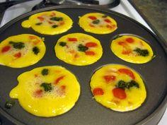 If You Like Frittatas, Try Tomato Pesto Ebelskivers Aebleskiver Recipe, Egg Recipes, Healthy Recipes, Tomato Pesto, Good Food, Yummy Food, Pancakes And Waffles, Pain, Breakfast Recipes