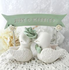 Wedding Cake Topper Love Birds Beige and Sage Green by LavaGifts