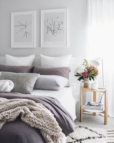 Small grey bedroom, plants
