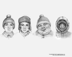 South Park re-imagined  http://www.slightlywarped.com/crapfactory/curiosities/2010/drawn_by_different_artists.htm