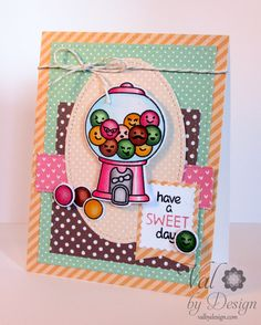 Lawn Fawn Sweet Smiles; gumball machine; repeat stamping; masking; polka dots; layers