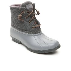Sperry Gray Saltwater Quilt Wool Duck Boot - Women's ($120) ❤ liked on Polyvore featuring shoes, boots, grey, sperry boots, wool boots, adjustable shoes, sperry footwear and fleece-lined shoes