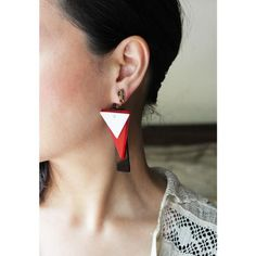 VINTAGE PLASTICK ABSTRACT EARRING (RED/BLACK/WHITE) /ヴィンテージイヤリング