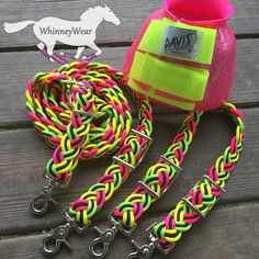 Neon braided reins and bell boots Www.Whinneywear.Com