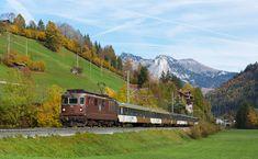 Re 425 der BLS (Bern - Lötschberg - Simplon - Bahn) zwischen Zweisimmen und Grubenwald, Schweiz